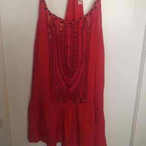 Red top with embroidery